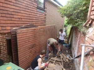 Tim, Benjamin, Tom & Charlie dismantling the shed