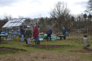 Old and new gardeners gathering at the start of the Big Dig