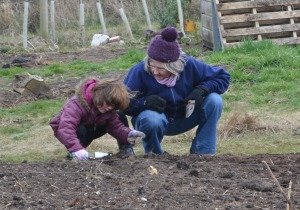 Sue shows a girl how to plant seed potatoes